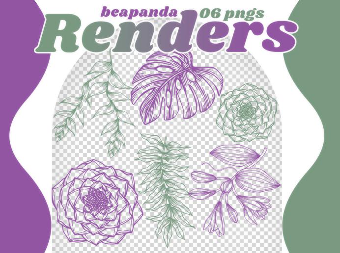 手绘素描风格的叶子、果实、鲜花图案PS笔刷(PNG透明格式)