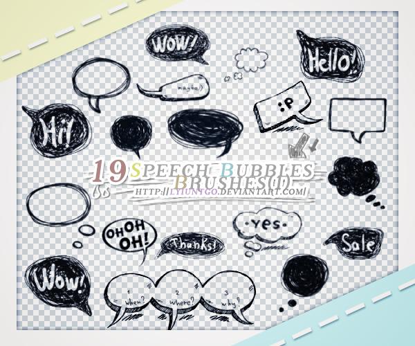 手绘涂鸦消息框、对话框、气泡框PS笔刷素材