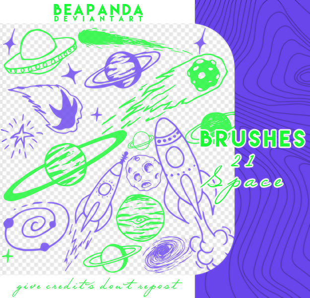 涂鸦星球、外星人元素PS笔刷素材