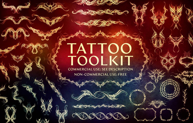 300种光影叠加式变化纹身、刺青、纹身图案PS笔刷