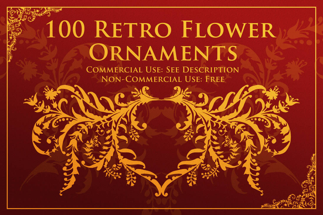 100种复古欧式花卉装饰、植物印花图案PS笔刷