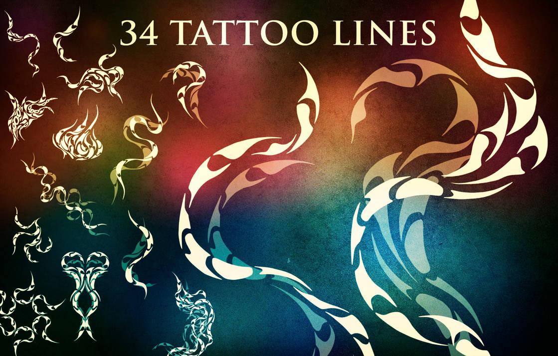 34种火焰纹身组合花纹图案PS笔刷